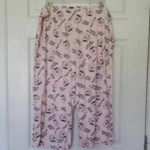 Plus Size 16-18/ Pink Coffee/ Capri Pajama Bottoms